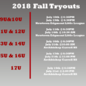 2018 Fall Tryout Schedule