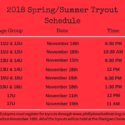 2018 Spring/Summer Tryout Schedule